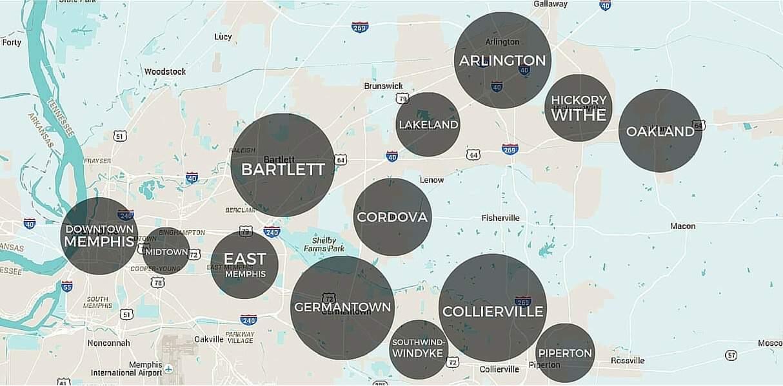 Memphis suburbs map